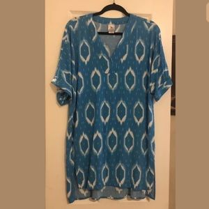 Fabulous Natori blue print lounge dress M